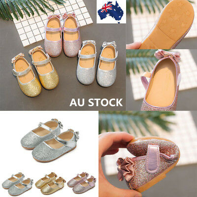 AU Kids Girl Formal Sequins Glitter Bowknot Shoes Party Bridemaid Wedding Shoes