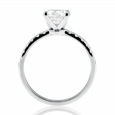 1 Carat Round Cut Enhanced Diamond Engagement Ring E-F/SI1 18K White Gold