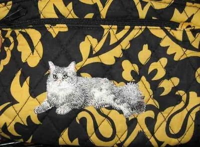 Q cosmetic GREY LH CAT Quilted Damask Yellow Dble Zip Fabric Cosmetic Bag