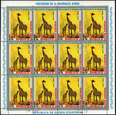 Equatorial Guinea 1970's 70e Wildlife Giraffe Cto Used Full Sheet #V5644