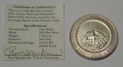 USA 2003 Shawnee Tribe silver dollar, in pouch of issue with certificate.