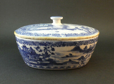 ANTIQUE 18thC QING CHINESE EXPORT BLUE & WHITE PORCELAIN OVAL LIDDED BOWL DISH