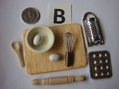 1/12th Scale Baking Sets, Bowl/Eggs/Sieve/Grater/Whisk/Spoon/Board Set 'B'