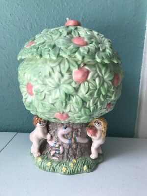 Fitz and Floyd Rare Adam and Eve apple tree cookie jar FF 1987 Christian Kitchen