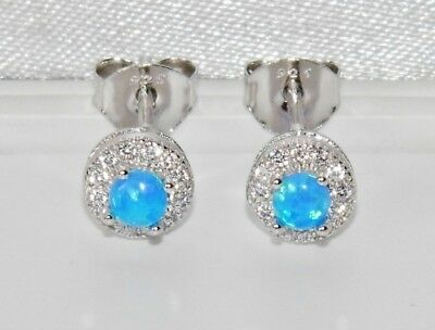 Sterling Silver (925) Blue Opal Cabochon Halo Cluster Stud Earrings ~