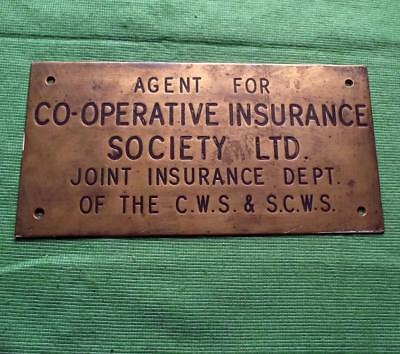 """c1900 Brass Cooperative Insurance Society  Antique Sign Plaque  9"""" X 4.5""""  .5 KG"""
