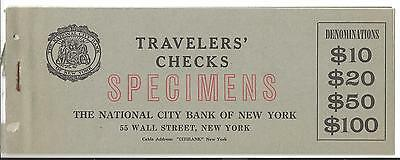 THE NATIONAL CITY BANK OF NEW YORK $10 20 50 100 DOLLARS SERIE travellers checks