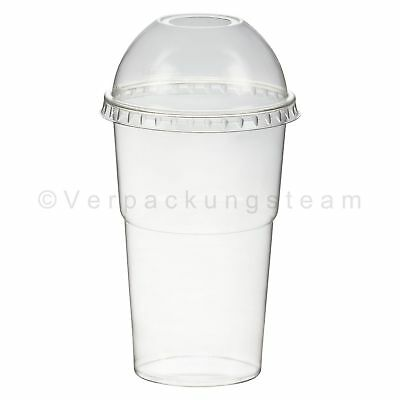 Smoothie Cups + Domdeckel mit Öffnung 200 ml Ø 78mm PET glasklar Plastikbecher