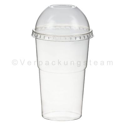 Smoothies Cup + Domdeckel mit Öffnung 300 ml Ø 78mm PET glasklar Plastikbecher