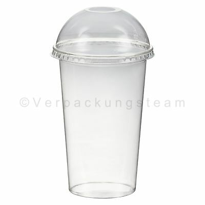 Smoothies Cup Plastikbecher + Domdeckel mit Öffnung 500 ml Ø 95mm PET glasklar