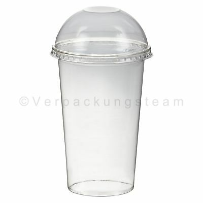 Smoothies Cups Dessertbecher + Domdeckel 400 ml Ø95mm PET glasklar Plastikbecher