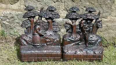 SUPERB Pr 19thc BLACK FOREST OAK CARVINGS WITH  WOODSMAN & WIFE IN FOREST C.1870