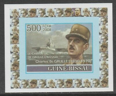 Guinea Bissau 5654 - 2008 CHARLES de GAULLE  imperf deluxe sheet unmounted mint