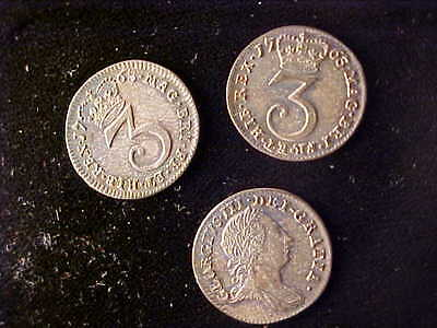 George Iii Maundy Threepence 1763, Lot Of 3 Coins Very Fine To Extremely Fine