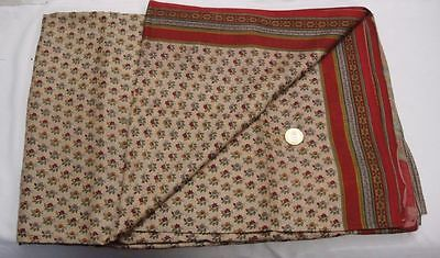 Antique Vintage Pure Silk Fabric Floral Printed Indian Sari Saree Free Shipping