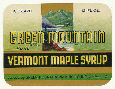 6 Unused Green Mountain Pure Vermont Maple Syrup Labels St. Albans Vermont