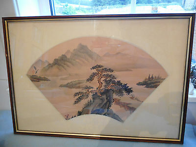 Ref 001 Framed Chinese Ink Wash Painting On Silk Signed With Lush Mountain Scene
