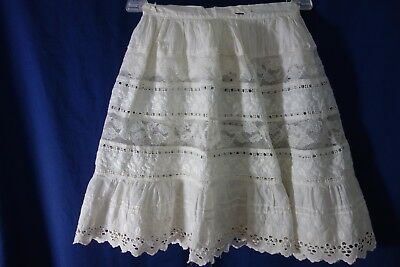Victorian Girl's Petticoat- Small- Rows of Embroidery,Lace & Eyelet- BEAUTIFUL