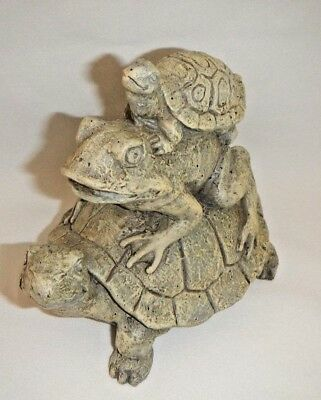 Stack of Turtles & Frog Figurine Resin Garden Collectible