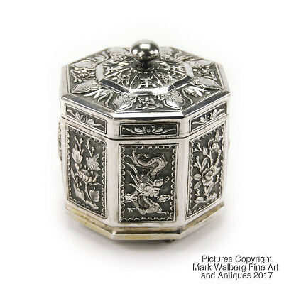 Chinese Export Silver Octagonal Box, Repoussé, Maker's Stamp, 19/20th Century