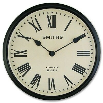 Smiths Clocks Large Station Wall Clock With Roman Numerals Black | Hurn & Hurn