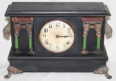 Antique Wooden Cased GILBERT BLACKBIRD Mantel Clock