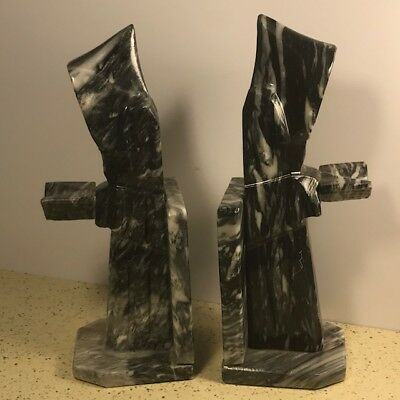 Vintage Bookends Book Ends Collectible Marble Figurine Black Monk Priest Bible