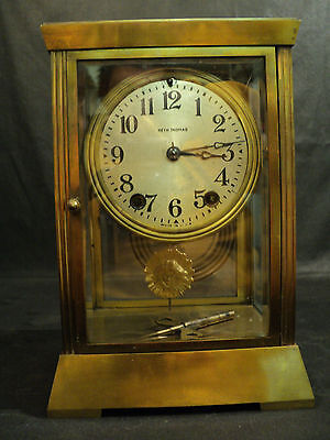"Antique Seth Thomas ""Empire"" Brass Crystal Regulator Clock, Unusual Pendulum"