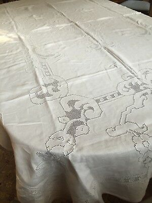 "Vintage Linen Hand Made Mosaic Lace Banquet Tablecloth Hem Stitched 102"" X 60"""
