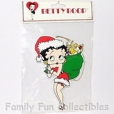 BETTY BOOP~1996 Kurt S Adler Christmas Ornament~Wood Santa w/ Toy Bag~NEW MIBag