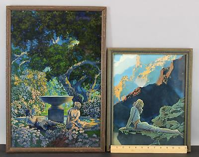2 Antique MAXFIELD PARRISH Chromolithograph Prints, Reveries & Wild Geese, NR