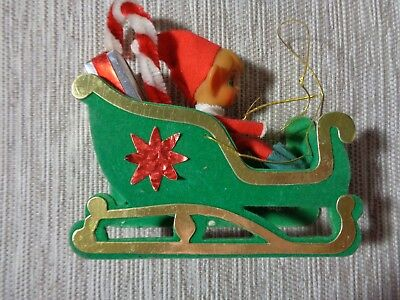 "Vintage Christmas Pixie Elf in sled JAPAN felt 5"" candy cane package CUTIE!!"