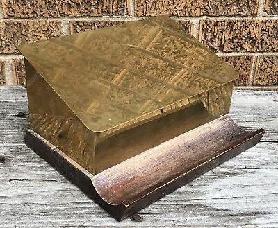 Antique * Vintage Italian Brass Wood Hinged  Lid Stationery Tidy Box * Pen Rest