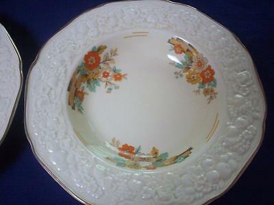 Crown Ducal Cereal/ Salad Bowl Florentine 22.5cms Raised Embossed Floral Cream