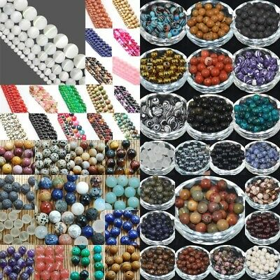 NATURAL GEMSTONE Round Charms Loose Spacer BEADS 4MM 6MM 8MM 10MM 12MM Pick