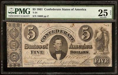 1861 $5 Dollar Bill Confederate States Currency Civil War Money Note T-34 Pmg 25