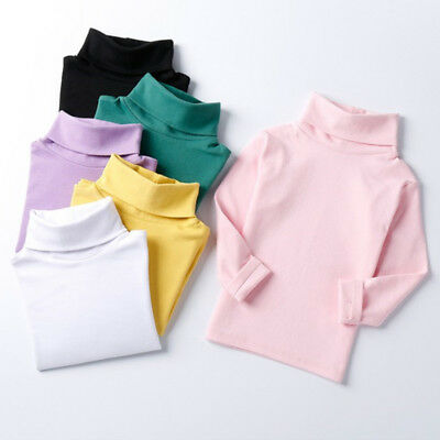 Baby girls kids High-necked long sleeves Cotton T-Shirts tops age 18-24mon -6y
