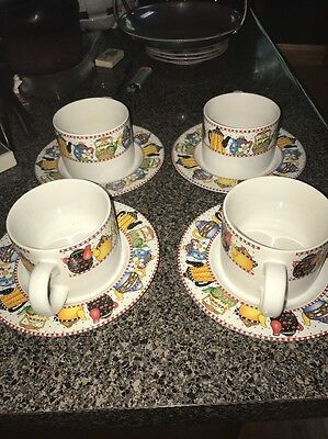 1994 AT HOME WITH MARY ENGELBREIT Sakura Afternoon Tea 4 Cups W/Saucers