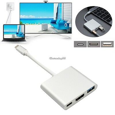 New Type C USB 4K HD Multimedia Interface USB3.0 Adapter 3 in 1 Hub Charger C1MY