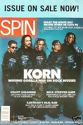 """KORN """"SPIN MAGAZINE 1998"""" U.S. PROMO POSTER - Group Wearing Gorilla Outfits"""