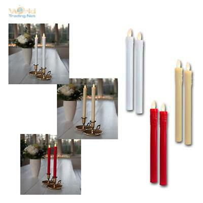 """LED Candles Set of Two """" Touch """" 25x2cm Real Wax Coat Flameless Table Candle"""