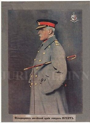 1914 Imperial RUSSIA Field Marshal of BRITISH ARMY General FRENCH Original PRINT