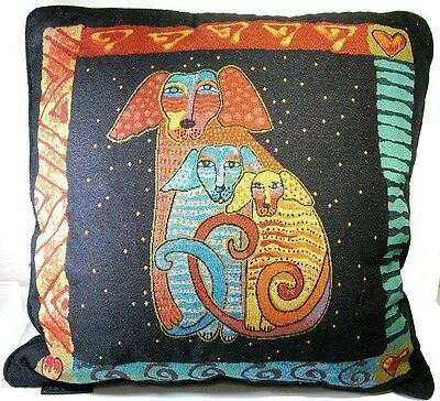 Laurel Burch Papillion Embracing Dogs Decorative Tapastry Pillow 18""