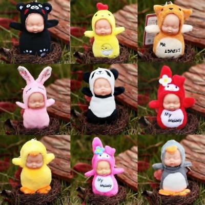 Key Chain Mini Sleep Baby Doll Keychain Bag Pendants Plush Barbies Key Ring LC