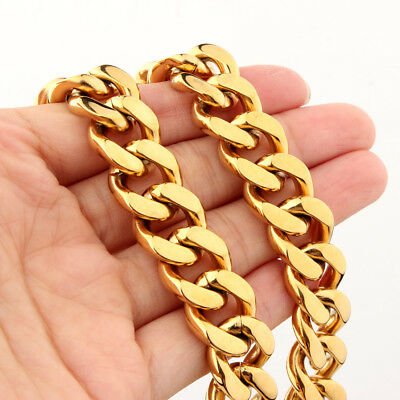 "18K Gold Plated Stainless Steel 15mm Mens Curb Cuban Link Chain Necklace 7""-40"""