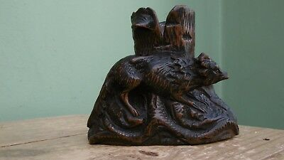 SUPERB 19thc BLACK FOREST OAK CARVED MATCH HOLDER WITH FOX C.1870