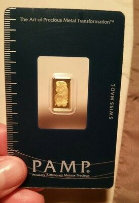 1 gram Pamp Suisse Gold Bar in Assay Lady Fortuna 9,999 Fine