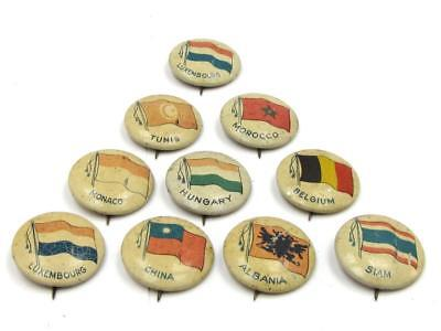 Vintage World Country & Flag Tin Badge Collection Lot of 10