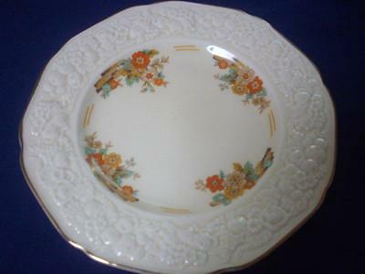 Crown Ducal Entree Plate Florentine 23cms Raised Embossed Floral Cream-Excellent