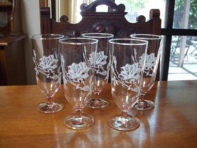 5 Drinking Glasses Stem Clear with White Floral Rose Design 16.5cms - Excellent